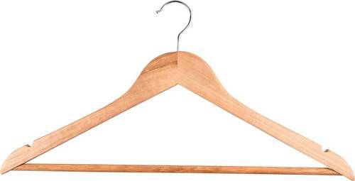Wooden top hanger with PVC bar