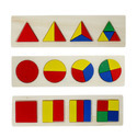 Multicolor 3 In 1 Wooden Educational Shape Color Sorting Puzzles - 1tng241