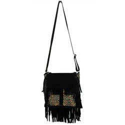 Embroidery Black Leather Afghani Bag