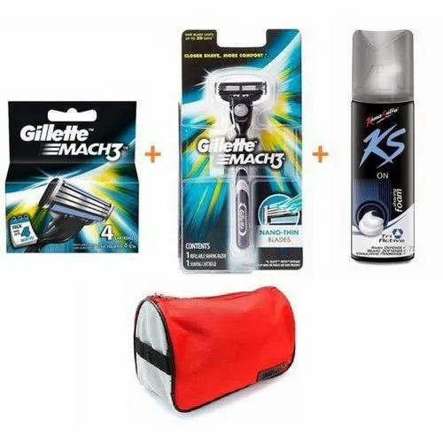 Gillette and KS Men' s Shaving Kit, for Household, Kit Bag