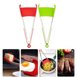 2 in 1 Clever Tongs Non Stick Heat Resistant Kitchen Spatula