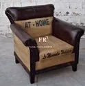 Vintage Chestnut Genuine Leather Single Seater Sofa for Restaurants