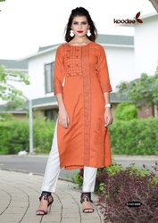 Heavy Linen Cotton Kurtis, Size: L