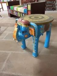 BLUE TOP ROUND WOODEN ELEPHANT TABLE, For Home, Size: 18 Inch