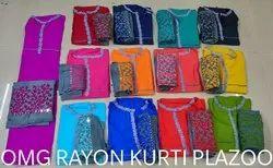 Ladies Rayon Kurti & Plazzo