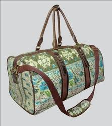 Kantha Luggage Bag With Leather Handle