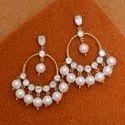 Traditional Gold Plated Silver Moissanite Polki Dangler Earring