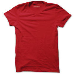 Mens Cotton Red Plain T-Shirt