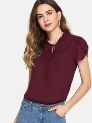 Crepe Petal Sleeve Lady Blouse Shirt