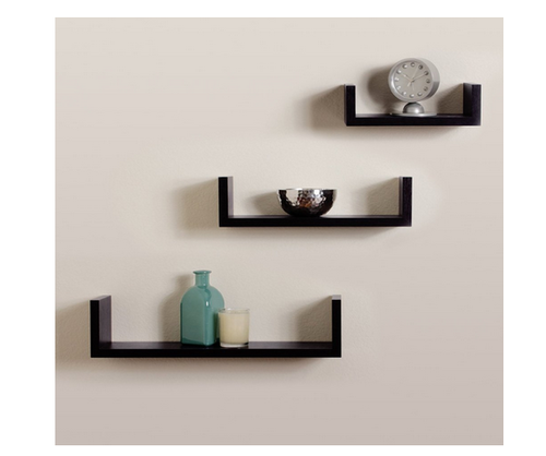 Storage Wall Shelf Rack Set Of 3 U Shape Wall Shelves Black