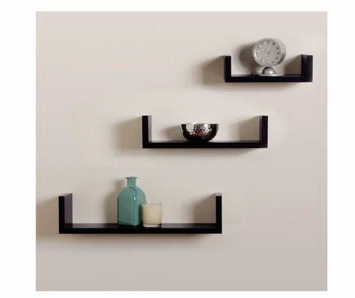 Storage Wall Shelf Rack Set Of 3 U Shape Wall Shelves Black