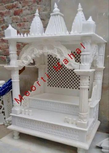 White Moorti Mahal Handmade Marble Temple