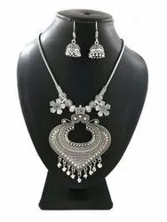 Traditional Chain German Silver Necklace With Earring