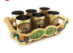Ellora Wooden N Steel Tray Glass Set, Size: 7x13x5 Inch