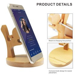 LifeKrafts Mobile Phone Holder, Creative Cute Natural Wooden Cell Phone Stand