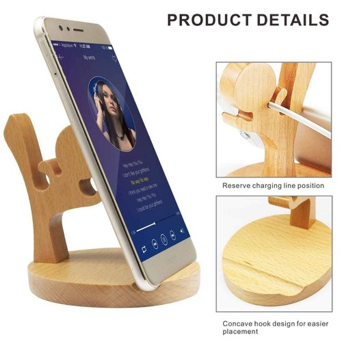 Lifekrafts Mobile Phone Holder Creative Cute Natural Wooden Cell Phone Stand