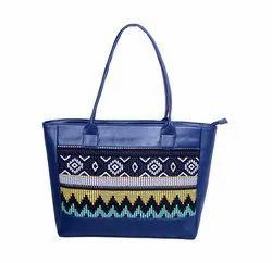 PU & Jacquard Handbag