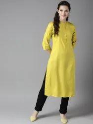 Straight 3/4th Sleeve Rayon Ladies Kurta, Size: S,M,L ,Xl, Xxl, Handwash