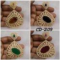 Shree Gautam Creation Red, Green American Diamond Earings, Size: Large