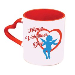 Personalized Photo Heart Handle Mug (Red)