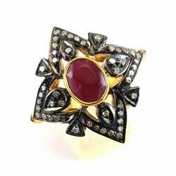 Ruby Diamond Silver Ring