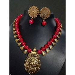 Brass And Beads Stylish Imitation Antique Necklaces Mala With Earrings Set, Box