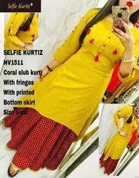 NV 1511 Coral Slub Kurti with Printed Bottom Skrit