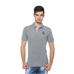 Mens Grey Polo Collar T-Shirt