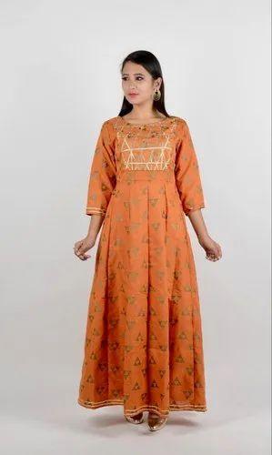 Orange Gold Print Anarkali Gown