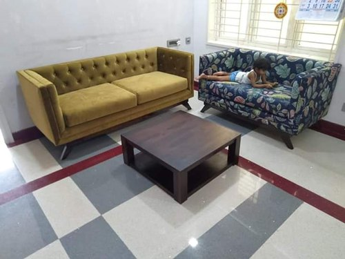 Modern blue and yellow 5 Seater Sofa Set, Size: Contemporary, for Home