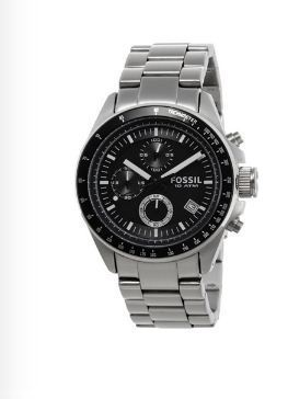 Mens Fossil Decker Chronograph Analog Black Dial