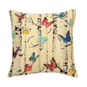 Butterfly Printed Jute Cushion Cover