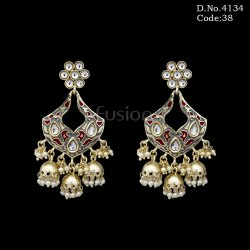 Ethnic Meenakari Kundan Jhumka Earrings