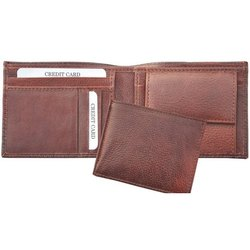 Male Bi Fold Brown Mens Leather Wallet