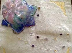 Sterling 925 Silver Multi Semi Precious Stones Necklace