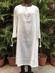 XL White Long Beach Wear Kurta