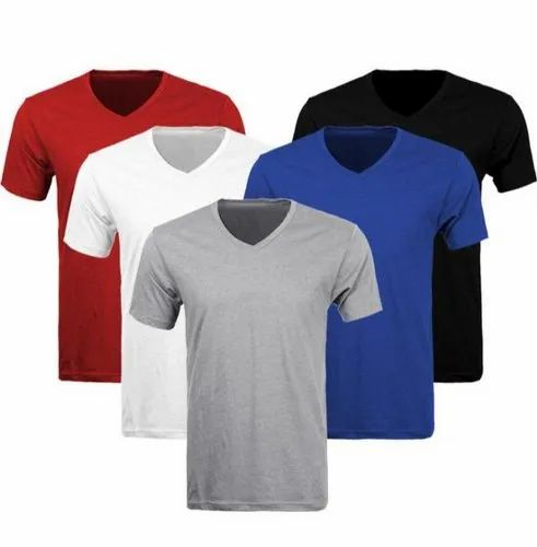 Plain Cotton V Neck T Shirts In Solid Colors Catalog 1 Rs 100 Piece Id 22052251162