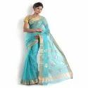 Ladies Blue Chanderi Saree