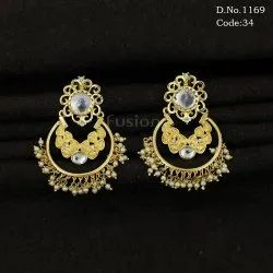 Antique Pearl Chandbali Earrings