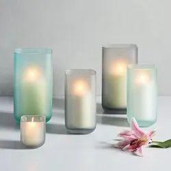 Green,White Glass Vases, Shape: Cylindrical