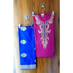 Cotton Silk Royal blue Ladies Dress Material