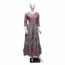 Sleeve Ladies Anarkali Rayon Party Wear Kurti, Size: S-Xxl, Wash Care: Machine Wash