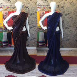 Plain Georgette Ribbon Flower Lace Patti Saree