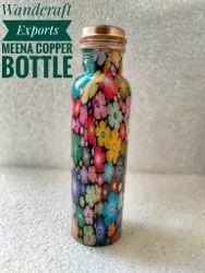 Meena Print Copper Water Bottle