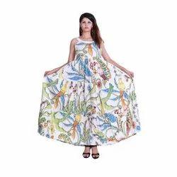 Casual Sleeveless Women's Bird Printed Cotton Gown Dress
