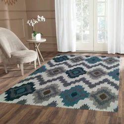 Vimla International Rectangular Handwoven Woolen Zig Zag Ikat Tufted Carpet