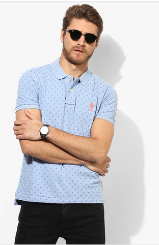 Light Blue Printed Regular Fit Polo T-Shirt
