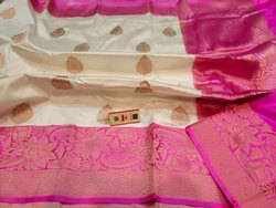 5.5 m (separate blouse piece) Weaving Zari Banarasi Handloom Katan Silk Saree