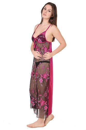 1f451d85332 Satin Ladies Transparent Long Nighty With Robe