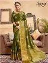 Green Color Designer Zari Silk Saree